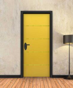 טפט לדלת צהוב 4 פסי זהב