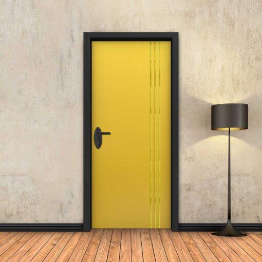 טפט לדלת צהוב 3 פסי זהב