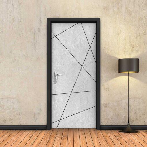 טפט לדלת בטון לבן מופשט פסים שחורים
