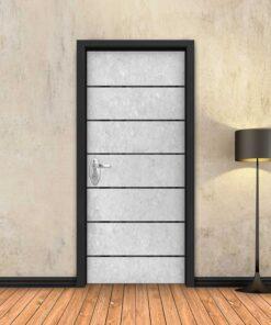 טפט לדלת בטון לבן 6 פסים שחורים