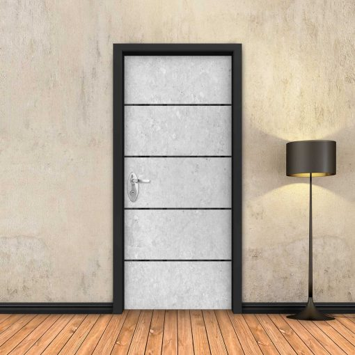טפט לדלת בטון לבן 4 פסים שחורים