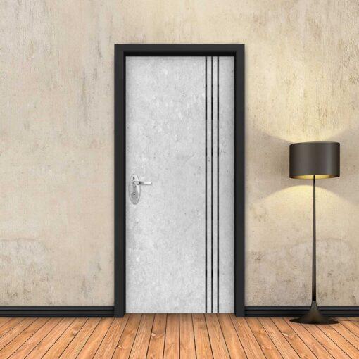 טפט לדלת בטון לבן 3 פסים שחורים