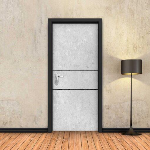 טפט לדלת בטון לבן 2 פסים שחורים