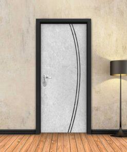 טפט לדלת בטון לבן 2K פסים שחורים