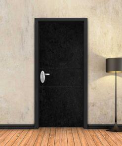 טפט לדלת בטון שחור 2 פסים שחורים