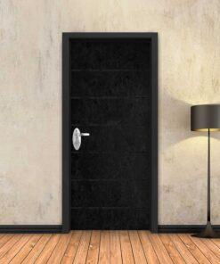 טפט לדלת בטון שחור 6 פסים שחורים