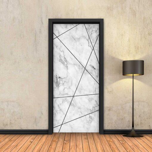 טפט לדלת שיש לבן מופשט פסים שחורים