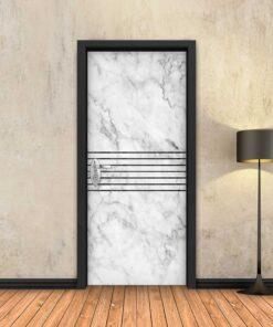 טפט לדלת שיש לבן 7 פסים שחורים