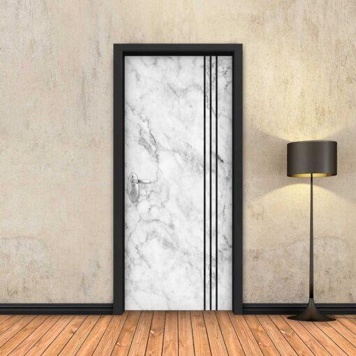 טפט לדלת שיש לבן 3 פסים שחורים