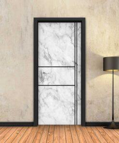 טפט לדלת שיש לבן 2X2 פסים שחורים