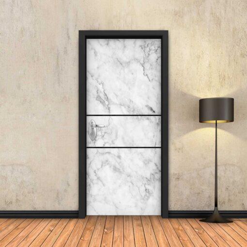טפט לדלת שיש לבן 2 פסים שחורים
