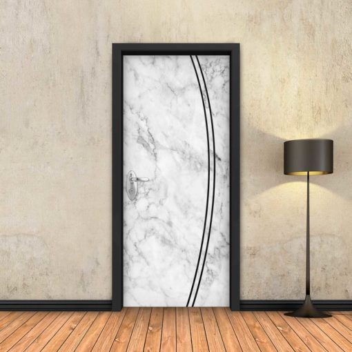 טפט לדלת שיש לבן 2K פסים שחורים