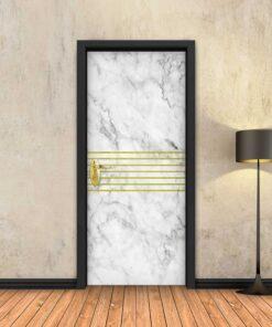 טפט לדלת שיש לבן 7 פסי זהב