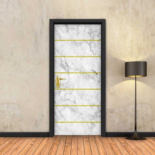 טפט לדלת שיש לבן 6 פסי זהב