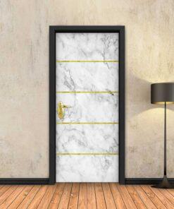טפט לדלת שיש לבן 4 פסי זהב