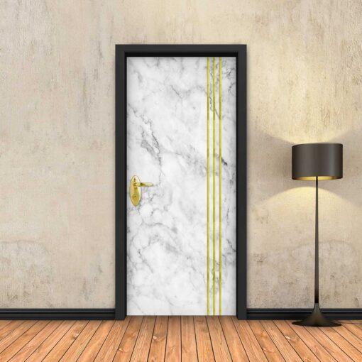 טפט לדלת שיש לבן 3 פסי זהב