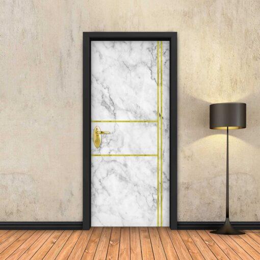 טפט לדלת שיש לבן 2X2 פסי זהב