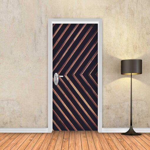 טפט לדלת שחור חצי עץ