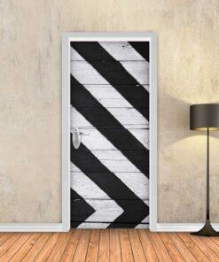 טפט לדלת עץ גיאומטרי שחור לבן