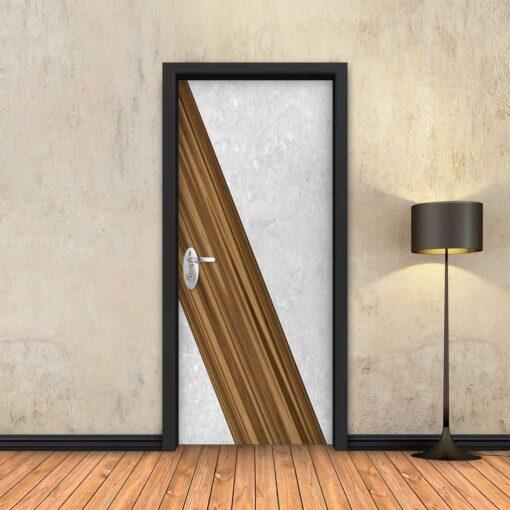 טפט לדלת עץ אלכסוני לבן