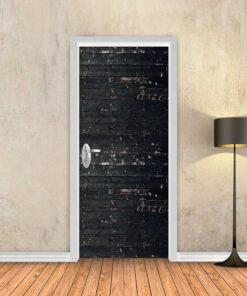 טפט לדלת פסי עץ שחור עתיק