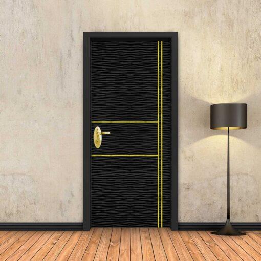 טפט לדלת גלים שחורים 2X2 פסי זהב