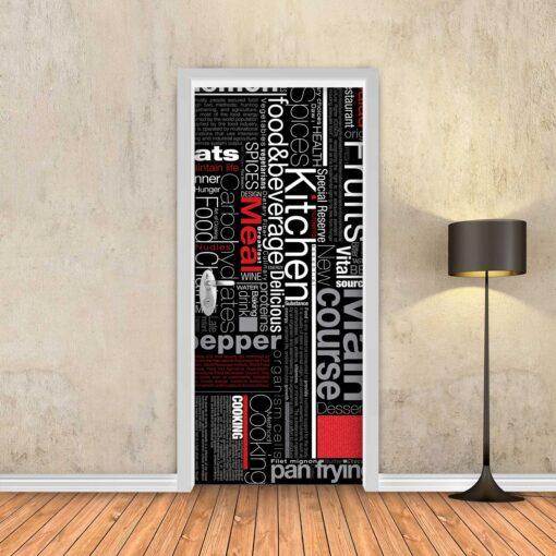טפט לדלת מטבח אדום שחור