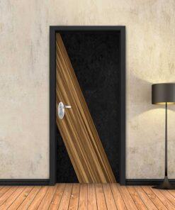 טפט לדלת עץ אלכסוני שחור
