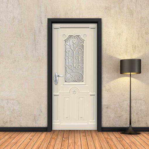 טפט לדלת שמנת מעוטר עם חלון