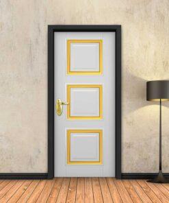 טפט לדלת לבן מסגרות זהב