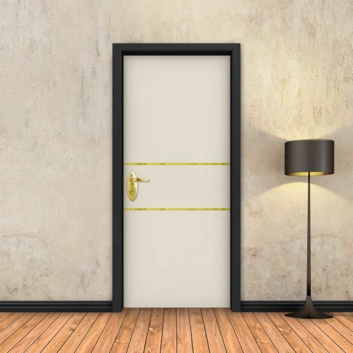 טפט לדלת בטון שמנת 2 פסי זהב