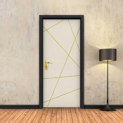טפט לדלת בטון שמנת מופשט פסי זהב
