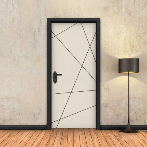 טפט לדלת בטון שמנת מופשט פסים שחורים