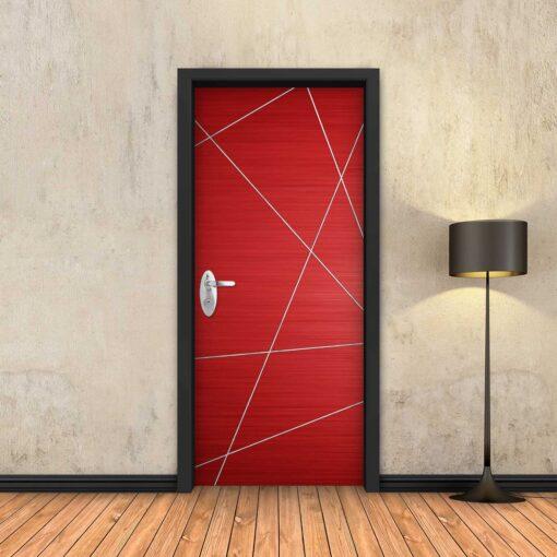 טפט לדלת אדום מופשט פסי ניקל