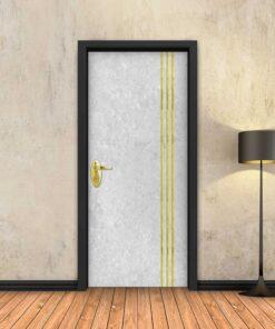 טפט לדלת בטון לבן 3 פסי זהב
