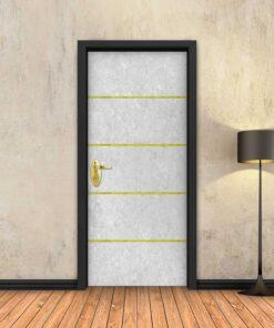 טפט לדלת בטון לבן 4 פסי זהב
