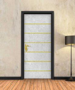 טפט לדלת בטון לבן 6 פסי זהב