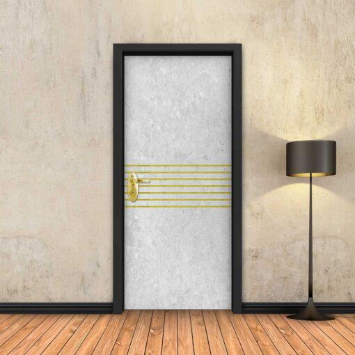 טפט לדלת בטון לבן 7 פסי זהב