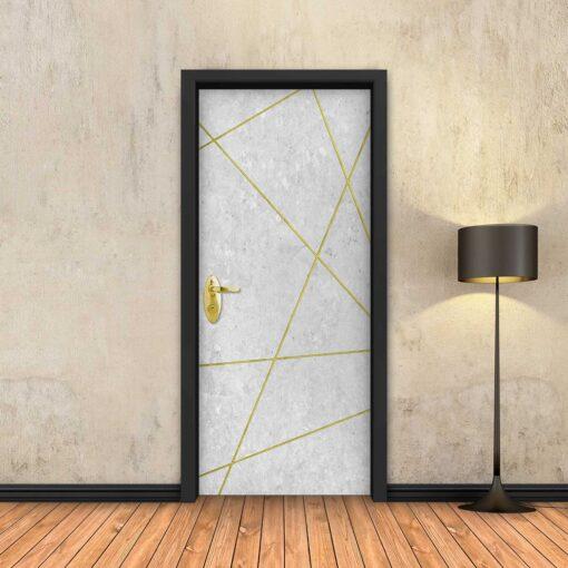 טפט לדלת בטון לבן מופשט פסי זהב