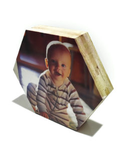 הדפסה על בלוק עץ משושה