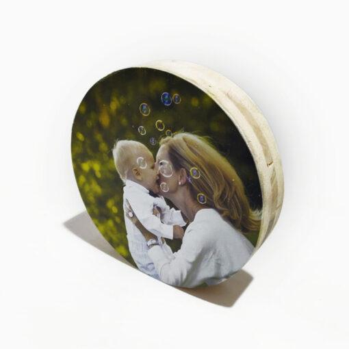 הדפסה על בלוק עץ עגול