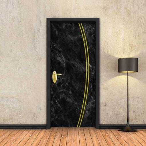 טפט לדלת שיש שחור 2K פסי זהב