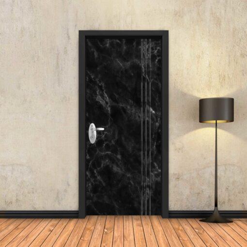 טפט לדלת שיש שחור 3 פסים שחורים
