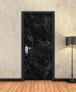 טפט לדלת שיש שחור 7 פסים שחורים