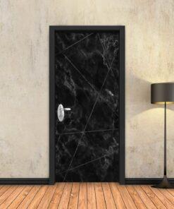 טפט לדלת שיש שחור מופשט פסים שחורים