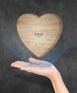 """בלוק עץ לב 20X20 ס""""מ"""