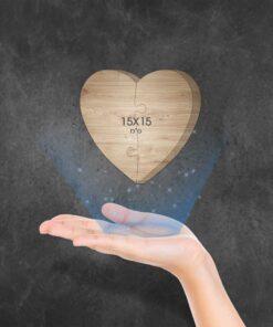 בלוק עץ פאזל לב 15X15 ס