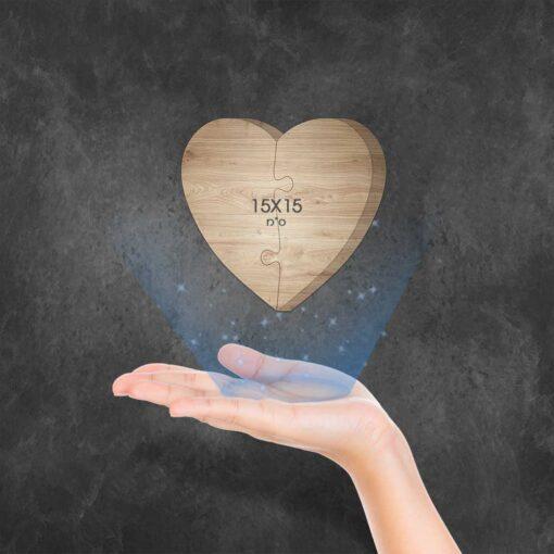 """בלוק עץ פאזל לב 15X15 ס""""מ"""