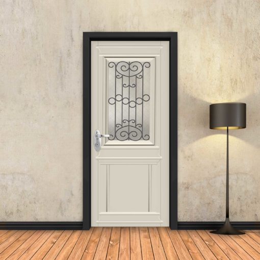 טפט לדלת שמנת קלאסי חלון רחב