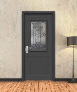 טפט לדלת אפור קלאסי חלון רחב